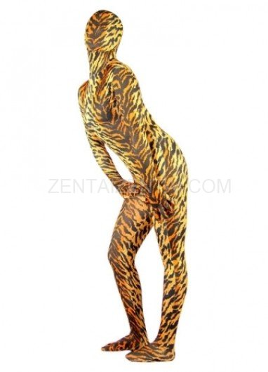 Sexy Tiger Pattern Lycra Spandex Female Morph Zentai Suit