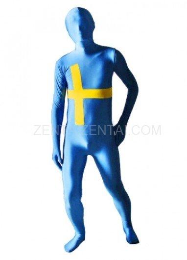 Sweden Flag Pattern Unisex Lycra Morph Zentai Suit