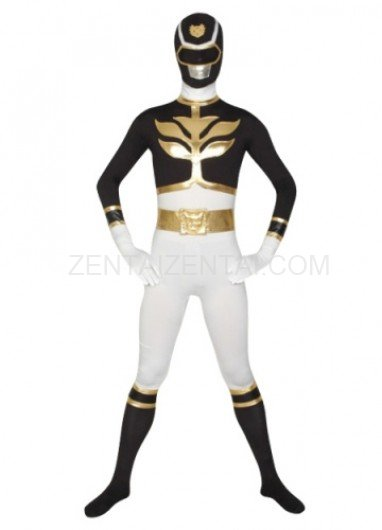 White And Black Super Hero Lycra Morph Zentai Suit