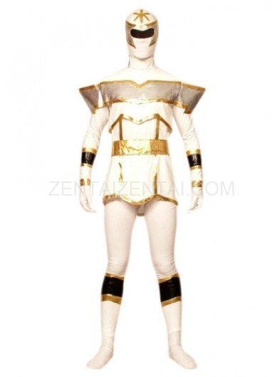 White And Gold Lycra Spandex Super Hero Morph Zentai Suit