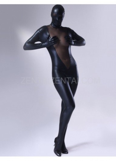 Black Shiny Metallic Lycra Female Morph Zentai Suit