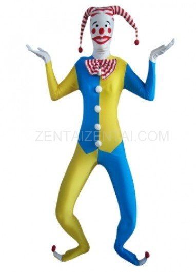 Blue And Yellow Clown Lycra Morph Zentai Suit