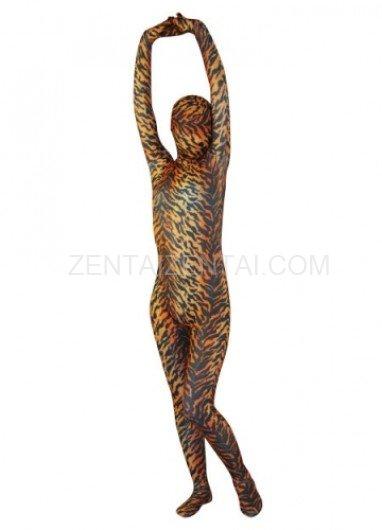Cheap Tiger Pattern Lycra Spandex Unisex Morph Zentai Suit