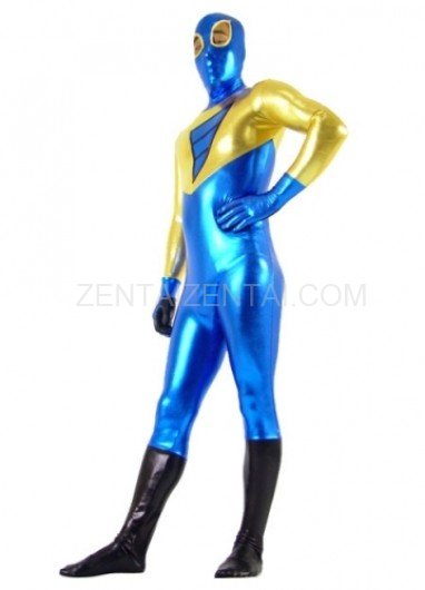 Gold And Blue Shiny Metallic Super Hero Morph Zentai Suit