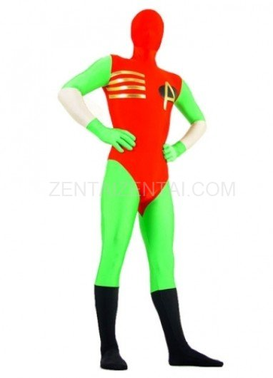 Green And Red Lycra Spandex Super Hero Morph Zentai Suit