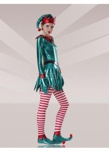 Green Red White Shiny Metallic Lycra Stripes Unisex Morph Zentai Suit