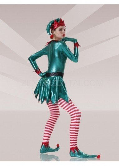 Green Red White Shiny Metallic Lycra Stripes Unisex Morph Zentai Suit