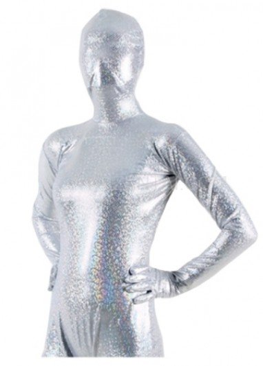 Quality White Shiny Metallic Unisex Breathable Morph Zentai