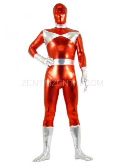 Silver And Red Shiny Metallic Morph Zentai Suit