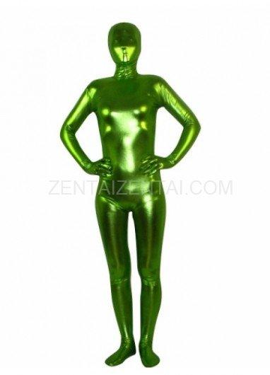 Spring Green Shiny Metallic Unisex Morph Zentai Suit