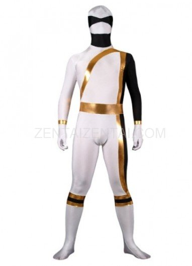 White And Gold Lycra Spandex Shiny Metallic Super Hero Morph Zentai Suit