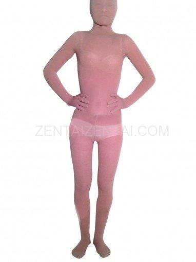 Flesh Transparent Velour Unisex Morph Zentai Suit