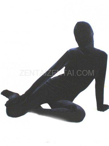 Navy Blue Silk Velour Morph Zentai Suit