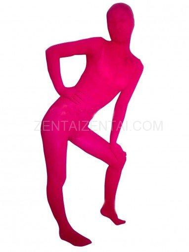 Pink Red Transparent Velvet Unisex Morph Zentai Suit