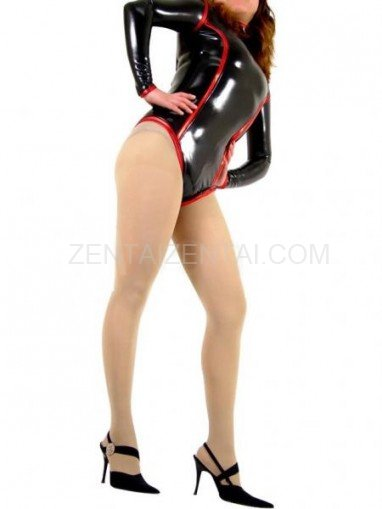 Black PVC Front Open Unisex Leotard