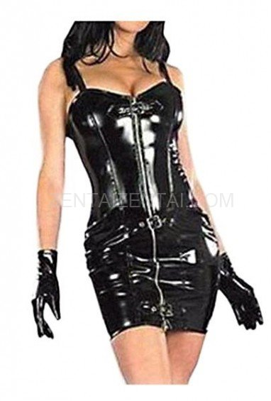 Black PVC Spaghetti Front Open Dress