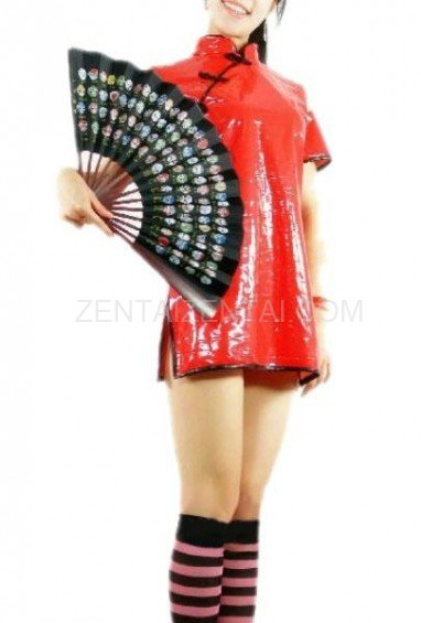 Chinese Traditional Red PVC Cheongsam Gown