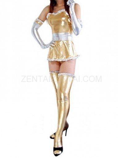 Cheap Gold Shiny Metallic Lace Trim Sexy Dress