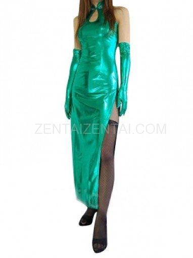 Classic Green Shiny Metallic Sexy Dress
