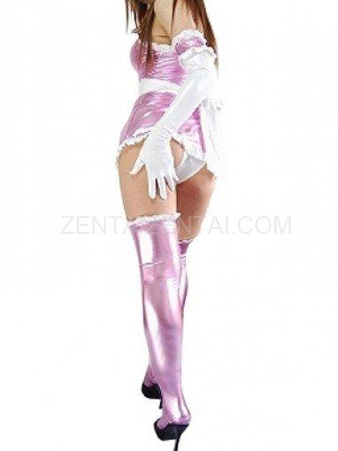 Classic Purple Shiny Metallic Lace Trim Sexy Dress
