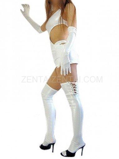 Classic Superior White Shiny Metallic Sexy Dress