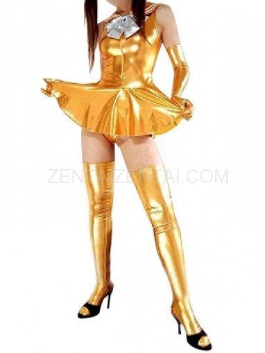 Gold Shiny Metallic Bowknot Mini Skirt Suit