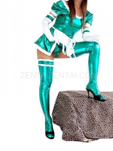 Unusual Green Shiny Metallic Lace Trim Sexy Dress