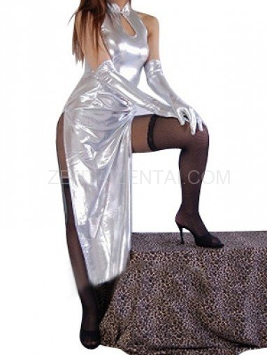 Unusual Silver Shiny Metallic Sexy Dress