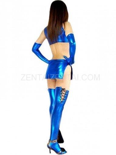 Blue Shiny Metallic Sexy Four-Set Costume
