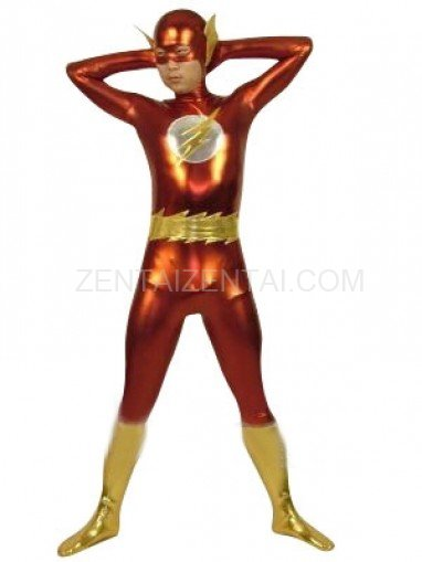Flash Shiny Metallic Super Hero Costume