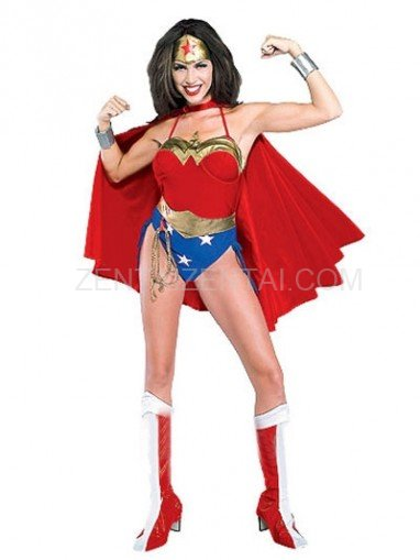 Lovely Wonder Woman Diana Lycra Shiny Metallic Super Hero