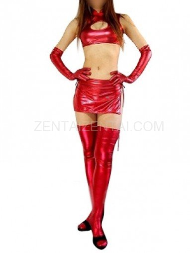 Red Shiny Metallic Sexy Four-Set Costume