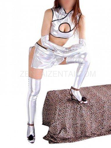 Silver Shiny Metallic Sexy Four-Set Costume
