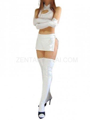 White Shiny Metallic Sexy Four-Set Costume