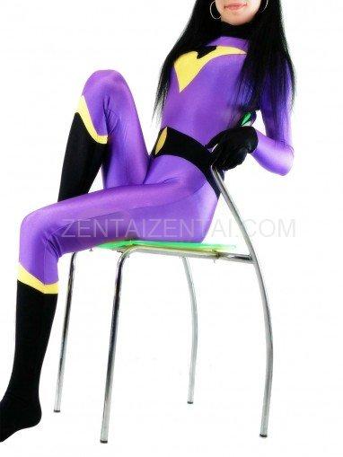 Lycra Spandex Purple and Black Unisex Catsuit