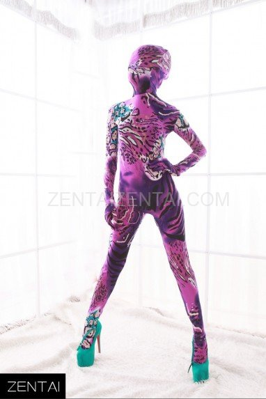 Pink and Purple DuPont Animal Pattern Morph Zentai Catsuit Tights