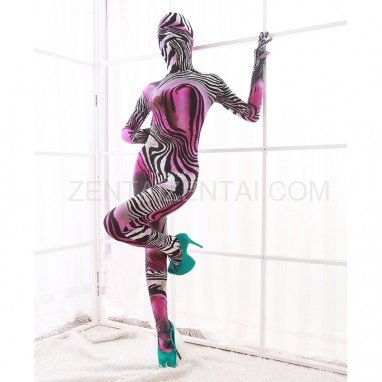 Pink and White Color Combination of Animal Patterns DuPont Morph Zentai Catsuits Tights