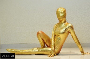 Girly Stage Performance Clothing Golden Coat Fullbody Tights Morph Zentai Suit
