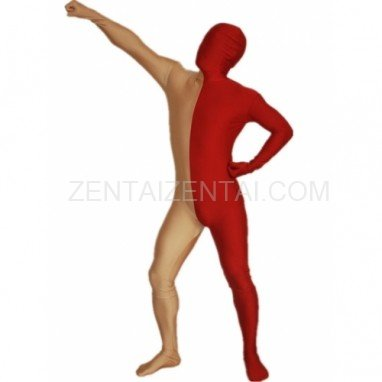 Maroon And Gold Fullbody Full Body Lycra Spandex Morph Zentai Suits Split Morph Zentai Suit