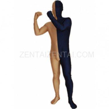 Navy blue And Gold Fullbody Full Body Lycra Spandex Morph Zentai Suits Split Morph Zentai Suit