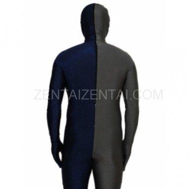 Navy blue And Gray Fullbody Full Body Lycra Spandex Morph Zentai Suits Split Morph Zentai Suit
