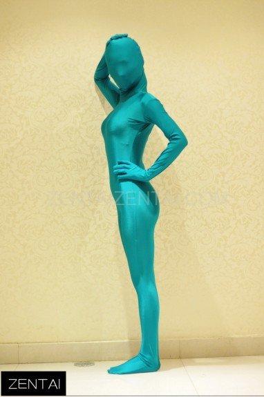 Peacock Blue Fluorescent Blue-green Fullbody Full Body Tights Morph Zentai Suit