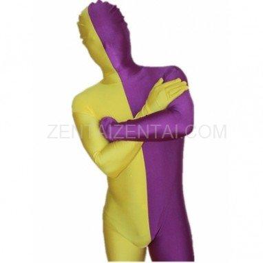 Purple And Yellow Fullbody Full Body Lycra Spandex Split  Morph Zentai Suits Split Morph Zentai Suit