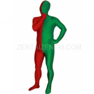 Red And Green Fullbody Full Body Lycra Spandex Morph Zentai Suits Split Morph Zentai Suit