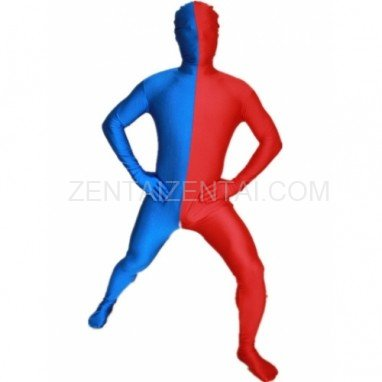 Royal Blue And Red Fullbody Full Body Lycra Spandex Morph Zentai Suits Split Morph Zentai Suit