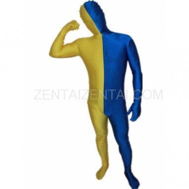Royal Blue And Yellow Fullbody Full Body Lycra Spandex Morph Zentai Suits Split Morph Zentai Suit