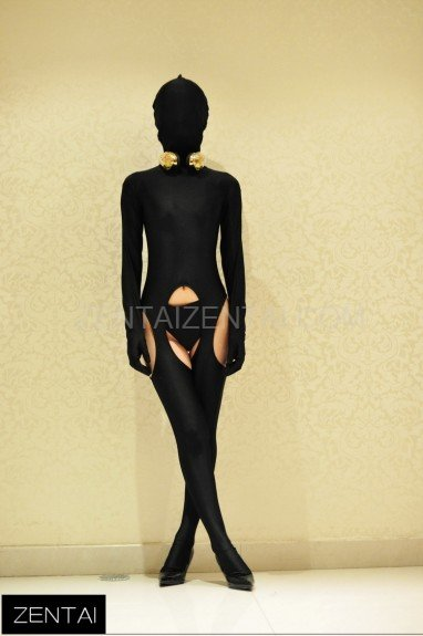 Sexy Black Tights Chest Decoration Morph Zentai Suit Costume