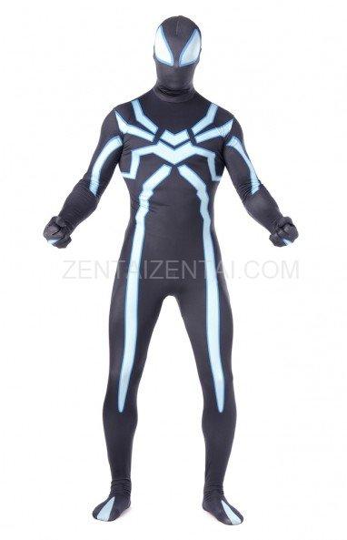 Black Fluorescence Spiderman Super Hero Full Body Spandex Halloween Unisex Lycra Morph Zentai Suit
