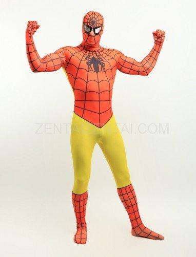 Orange and Yellow Spiderman Super Hero Full Body Spandex Holiday Unisex Lycra Morph Zentai Suit