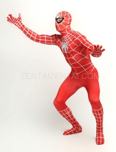Red Spiderman Super Hero Full Body Spandex Holiday Unisex Lycra Morph Zentai Suit